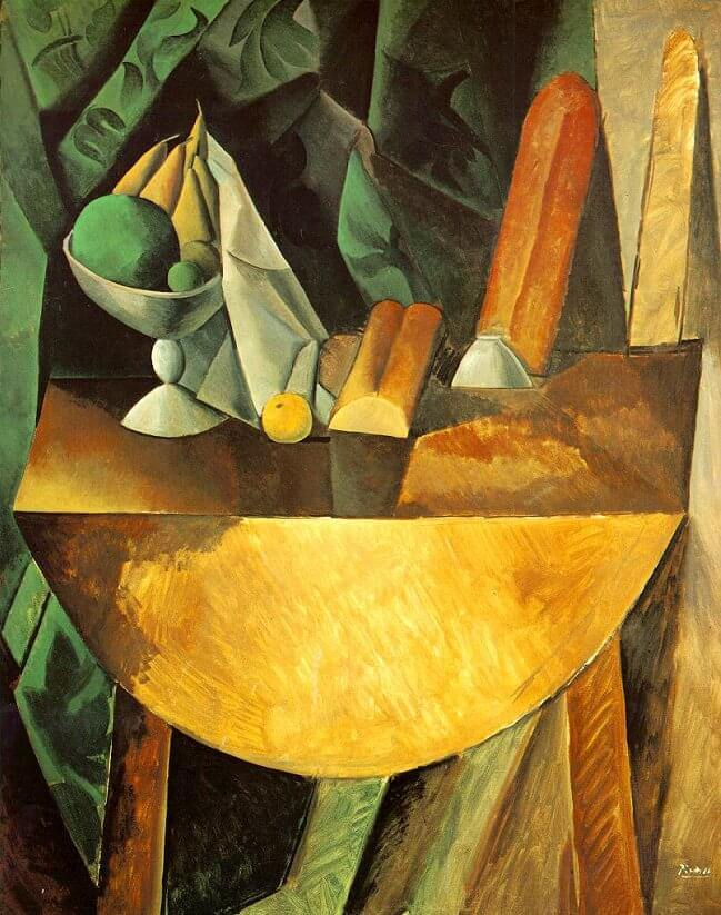 Bread and Fruit Dish on a Table, 1909 by Pablo Picasso