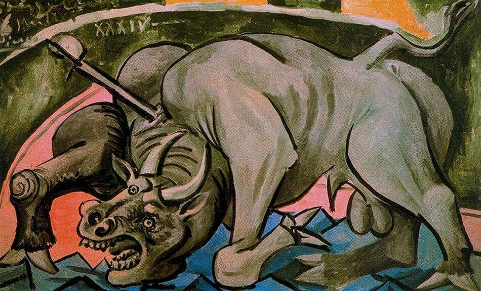 Dying Bull, 1934 by Pablo Picasso | 950 x 576 jpeg 191kB