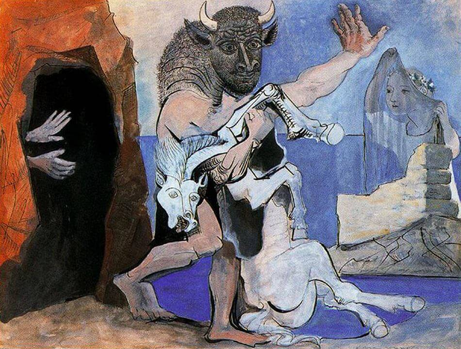 Minotaur with Dead Mare in front of a Cave, 1936 by Pablo Picasso