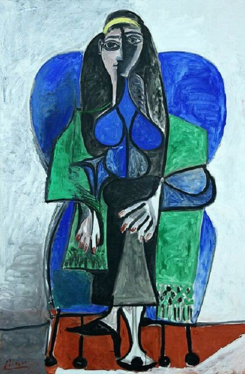 Seated Woman with Green Shawl, 1960 by Pablo Picasso